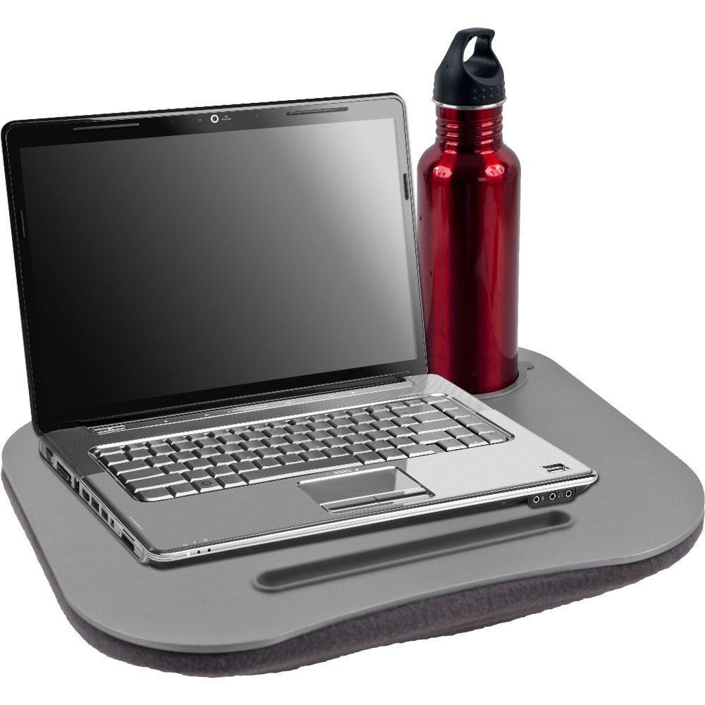 Laptop Buddy Gray Cushion Desk Pen And Cup Holder For 12
