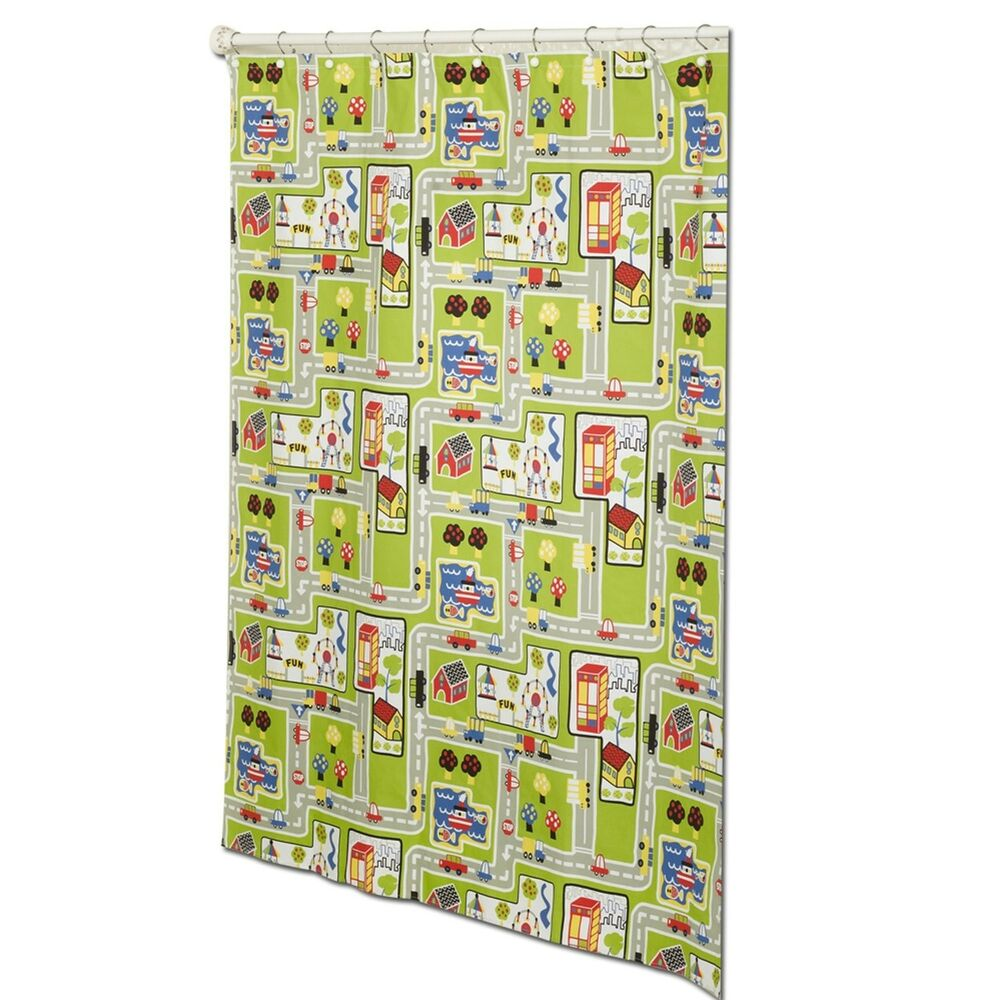 Around The Town PEVA Material Decorative Shower Curtain By