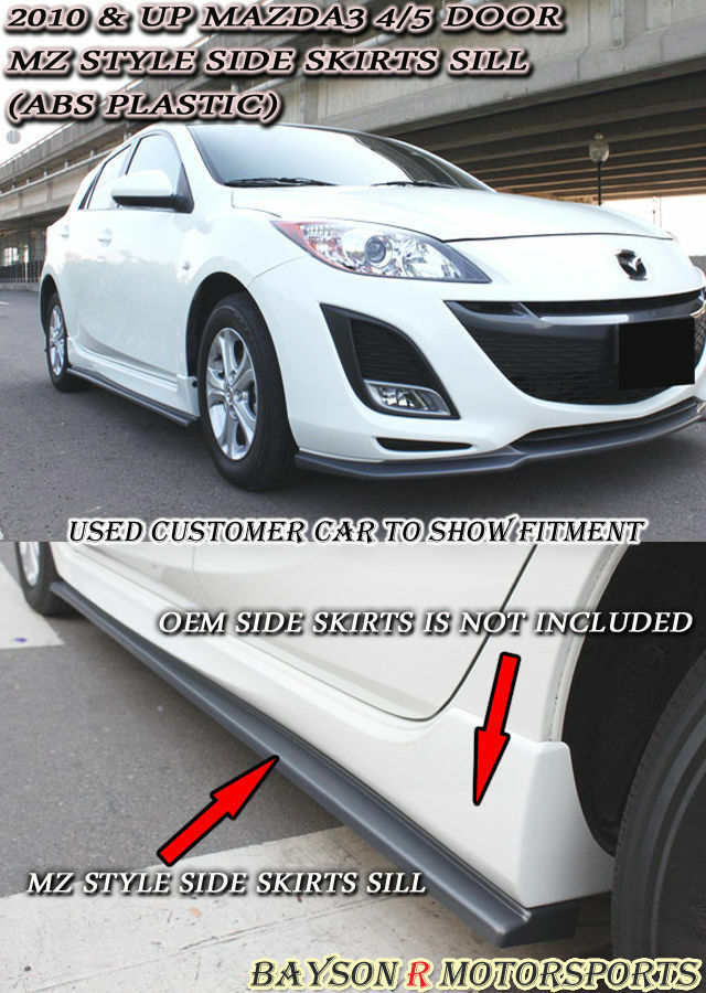 ms style aero side sills skirts abs fits 10 13 mazda 3 4. Black Bedroom Furniture Sets. Home Design Ideas