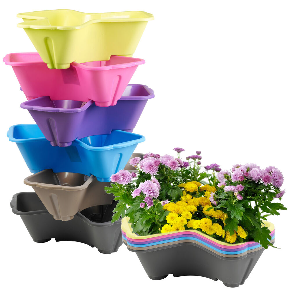 stackable plastic 3 plants flower pots pot holder coloured herb planter garden ebay. Black Bedroom Furniture Sets. Home Design Ideas
