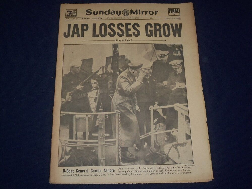 1945 may 30 new york sunday mirror jap losses grow gen for Sunday mirror