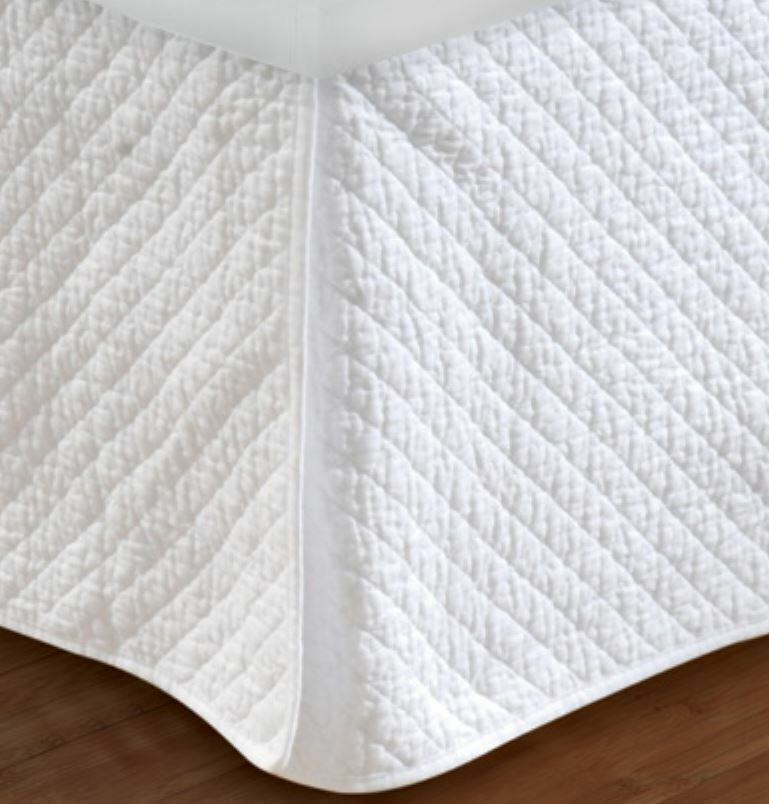 White Diamond Quilted Twin Full Queen King Bedskirt