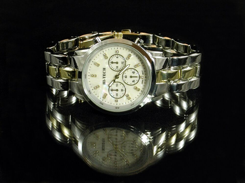 mens chronograph style silver gold bracelet band