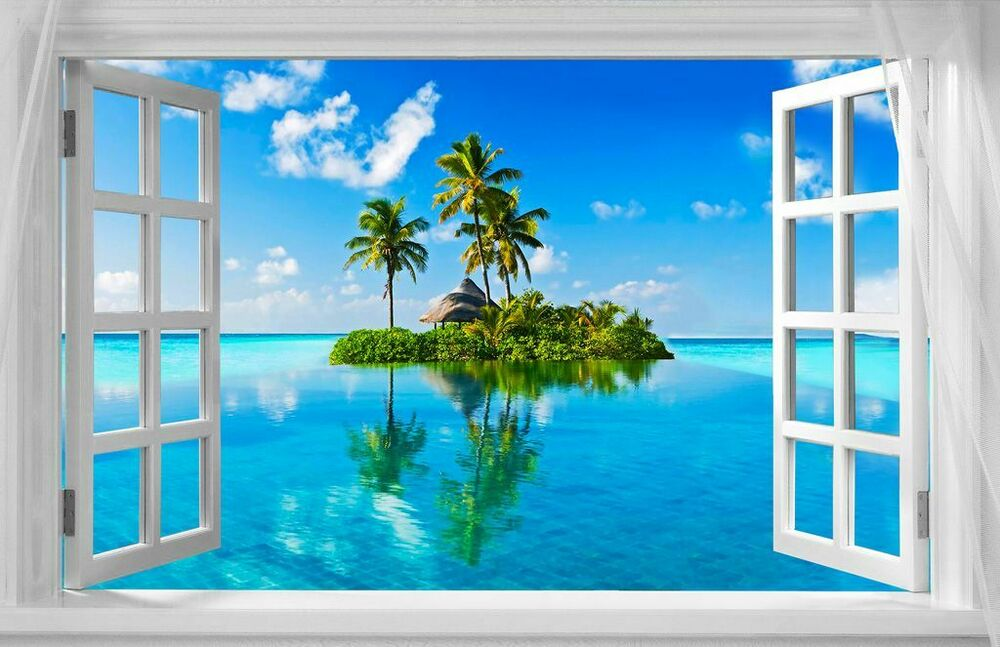 Beautiful tropical island window view a3 canvas print for 18 x 48 window