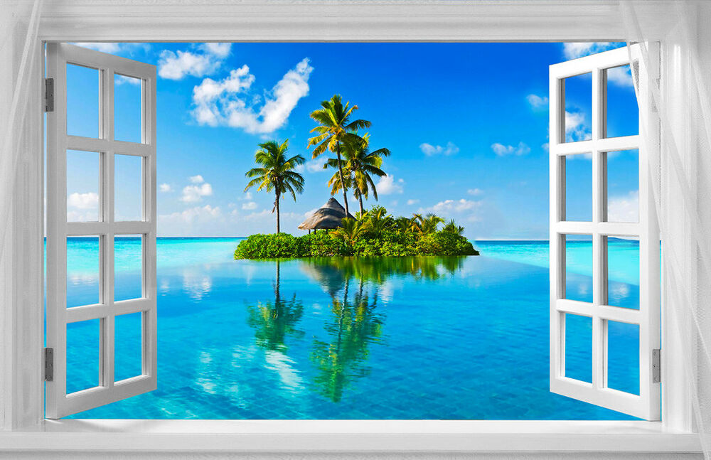 Beautiful Tropical Island Window View A4 CANVAS PRINT