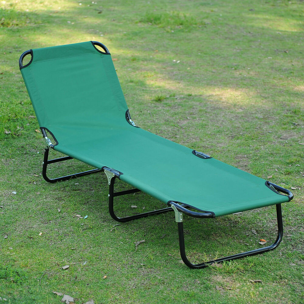 Outdoor sun chaise lounge recliner patio camping cot bed for Reclining lawn chair