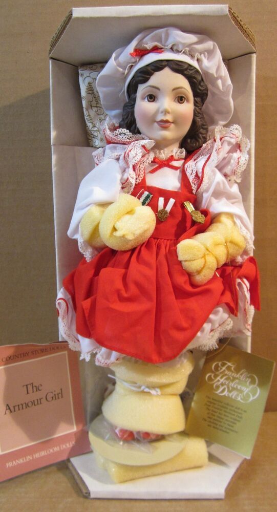 """Franklin Heirloom Country Store Dolls """"Armour Girl"""" Bisque"""