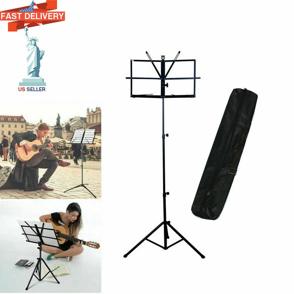 adjustable folding sheet music stand score holder mount tripod carrying gig bag ebay. Black Bedroom Furniture Sets. Home Design Ideas