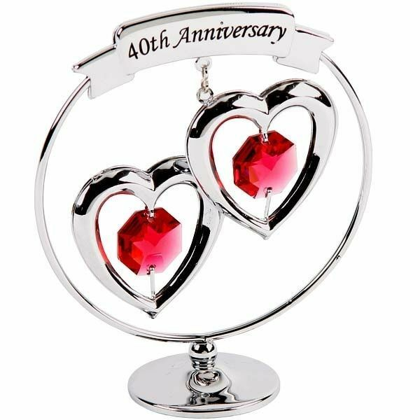 40th Ruby Wedding Anniversary Crystal Gift with Swarovski Crystals ...