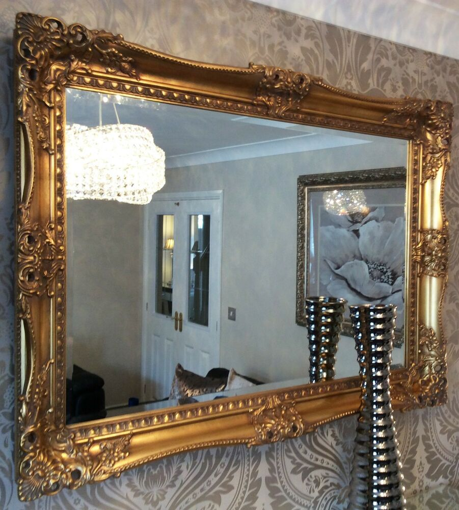 X LARGE Antique GOLD Shabby Chic Ornate Decorative Wall ... on Wall Mirrors Decorative id=81872