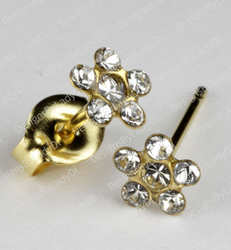 studex gold earrings tiny tips hypoallergenic clear