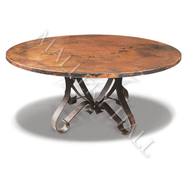 Tuscan round copper top flat wrought iron base dining for 0 60 table