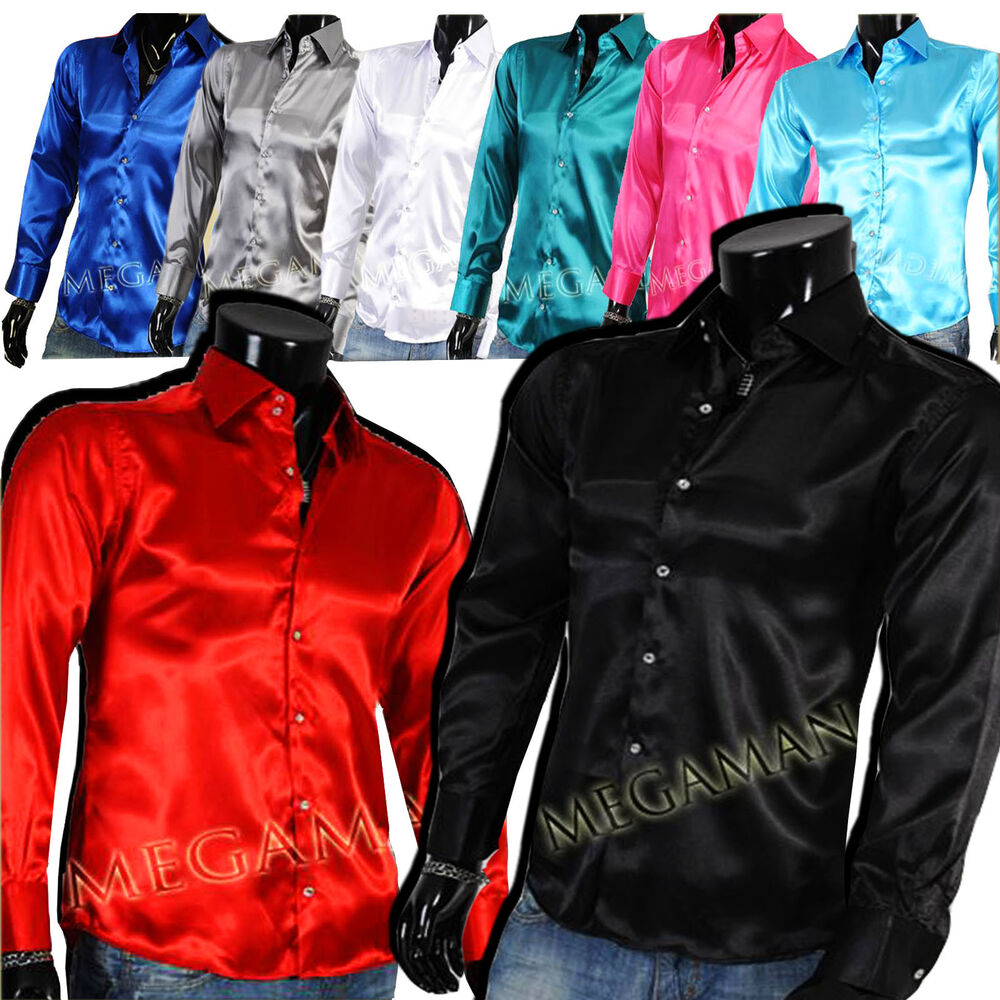 mens business casual office shirt kent collar shiny satin slim fit. Black Bedroom Furniture Sets. Home Design Ideas