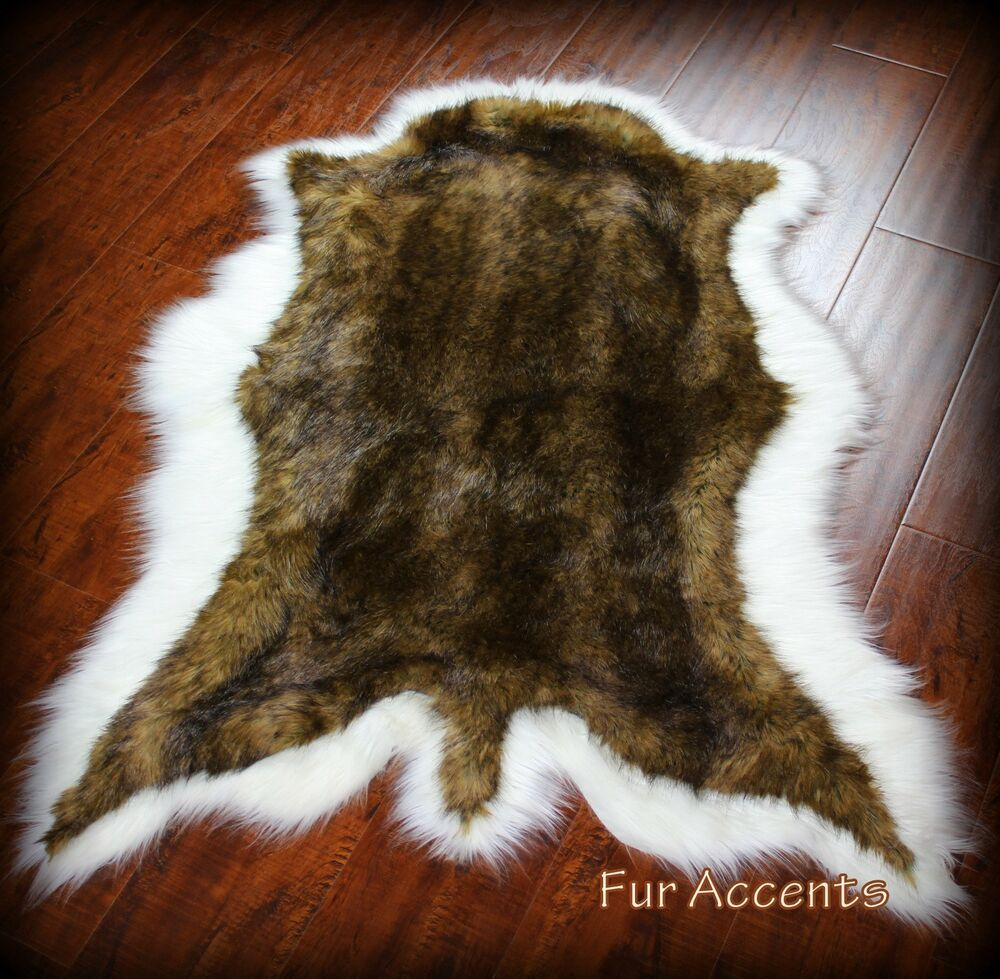 Brown White Tail Deer Skin Pelt Rug Faux Fur Fake