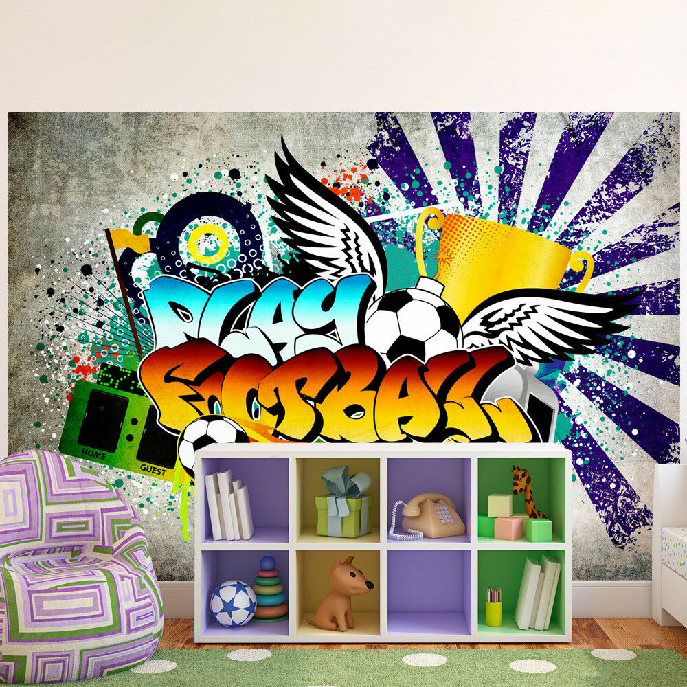 fototapete graffiti mural fu ball sport vlies tapeten. Black Bedroom Furniture Sets. Home Design Ideas