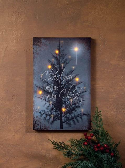Christmas begins with christ led lights radiance lighted for Lights for paintings