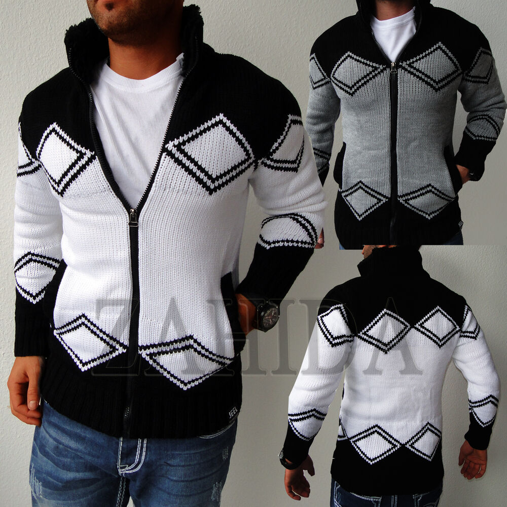 homme pull tricot cardigan norv gien cardigan tricot capuche neuf ebay. Black Bedroom Furniture Sets. Home Design Ideas