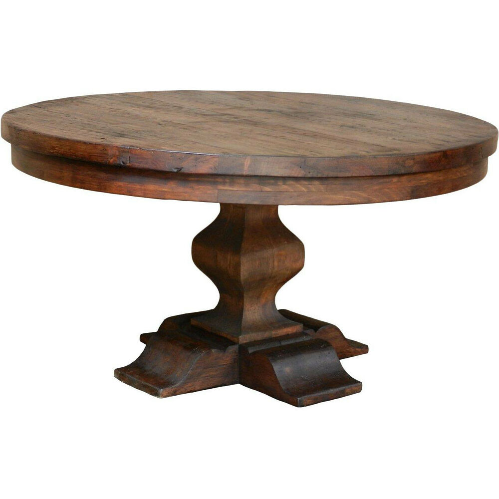 Rustic plank solid hardwood round pedestal base dining for Hardwood dining table