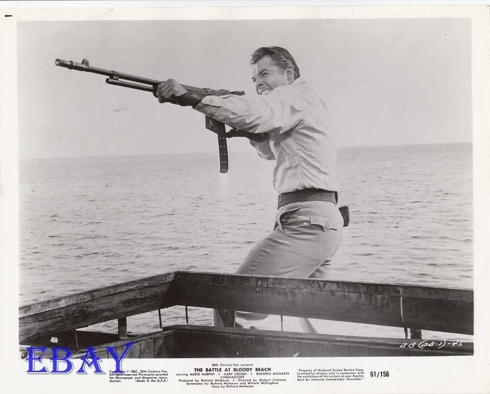 Audie Murphy W Gun Vintage Photo Battle At Bloody Beach Ebay