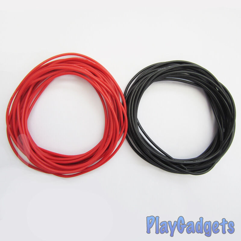 Red Battery Cable : Awg red black silicone wire battery motor cable