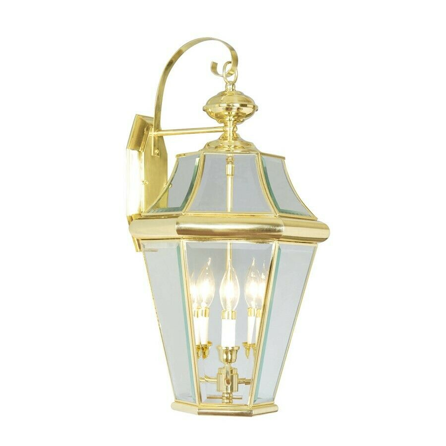 Cullen Wall Light Polished Brass : Livex Lighting Georgetown Outdoor Wall Lantern in Polished Brass - 2361-02 eBay