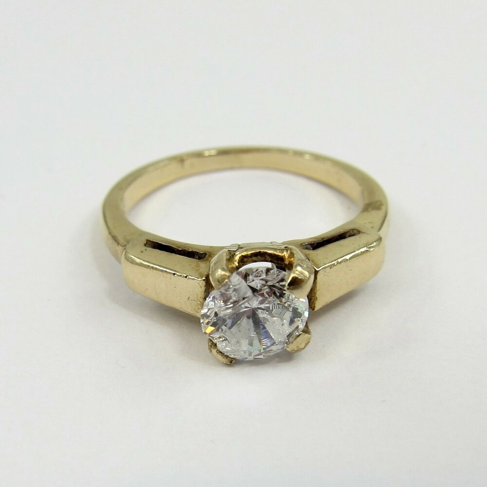 14k yellow gold cz vintage size engagement ring nice setting art deco ebay. Black Bedroom Furniture Sets. Home Design Ideas