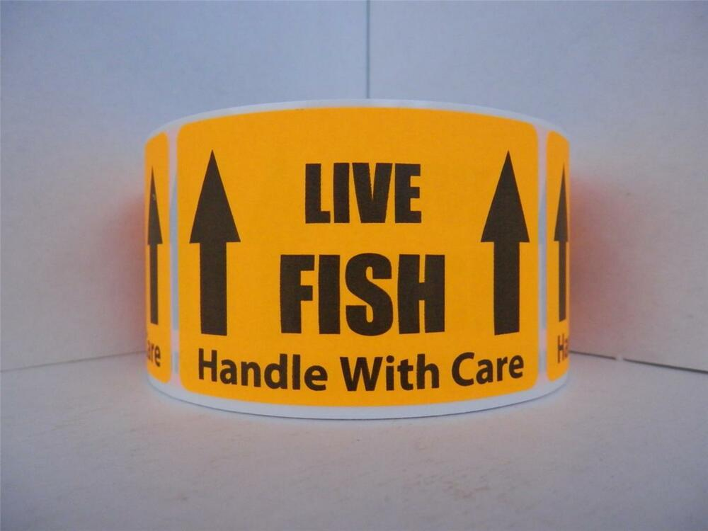 Live fish handle with care warning sticker label for Ebay live fish