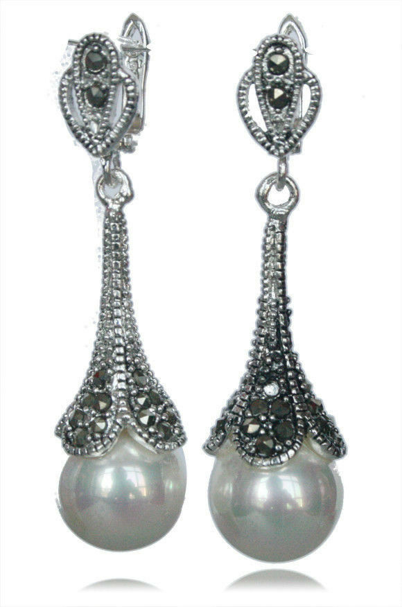 Marcasite 925 Sterling Silver White Shell Pearl Dangle ...