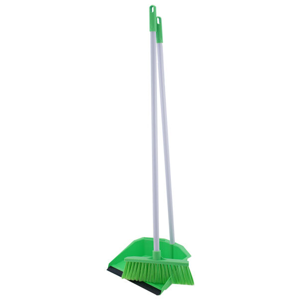 long handle dustpan and brush for sweeping cleaning dust pan and broom handled ebay. Black Bedroom Furniture Sets. Home Design Ideas
