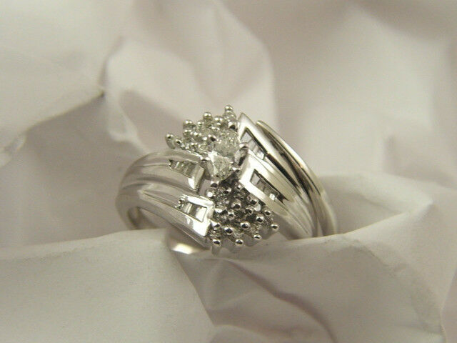 14 KT WHITE GOLD MARQUISE BAGUETTE DIAMOND ENGAGEMENT RING WEDDING BAND