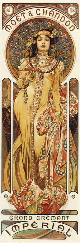 moet chandon poster print by alphonse mucha 12x36 ebay. Black Bedroom Furniture Sets. Home Design Ideas