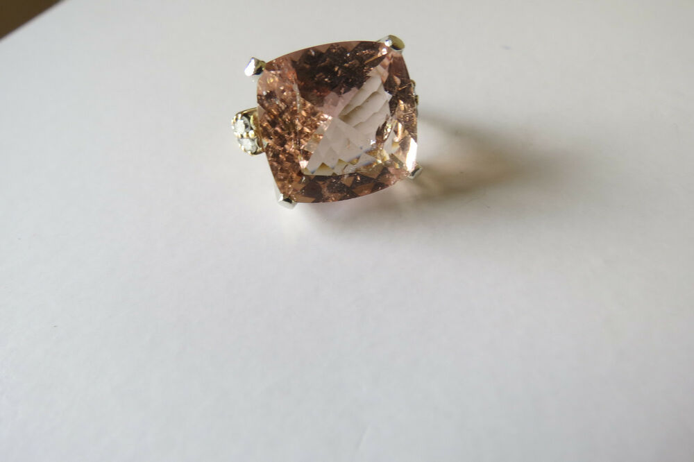 Morganite And White Sapphire Ring