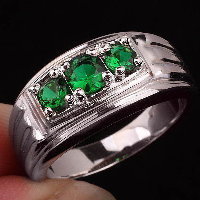 3 Stone Green Emerald Men 925 Sterling Silver Ring Size 13