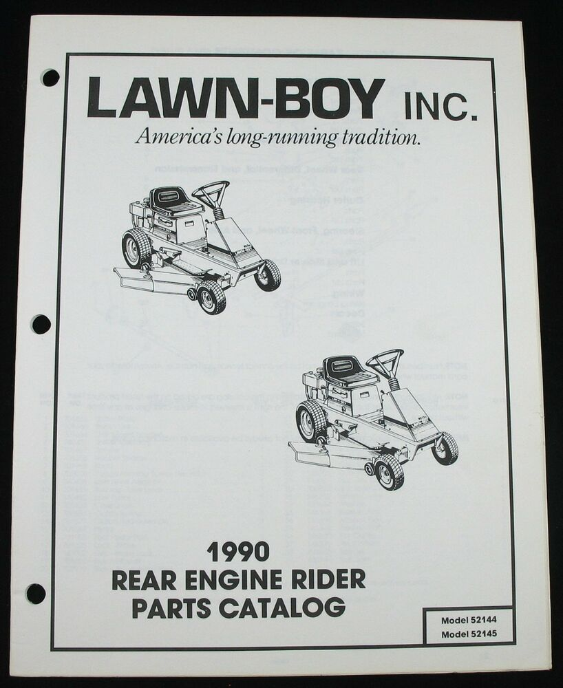 Lawn Boy 1990 Rear Engine Rider Lawn Yard Tractor Parts Catalog 52144 52145