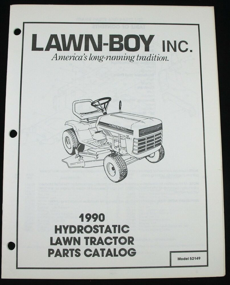 Lawn Boy 1990 Hydrostatic Lawn Yard Tractor Parts Catalog 52149