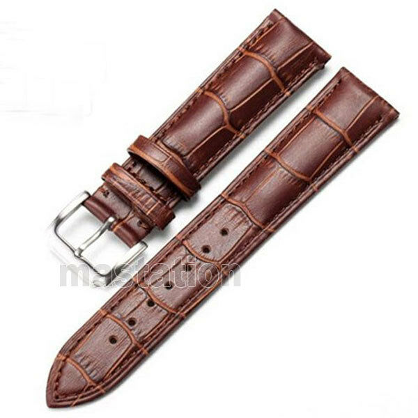 Black brown 18 20 22 24 26mm genuine leather wrist watch band steel buckle mens ebay for Leather strap watches