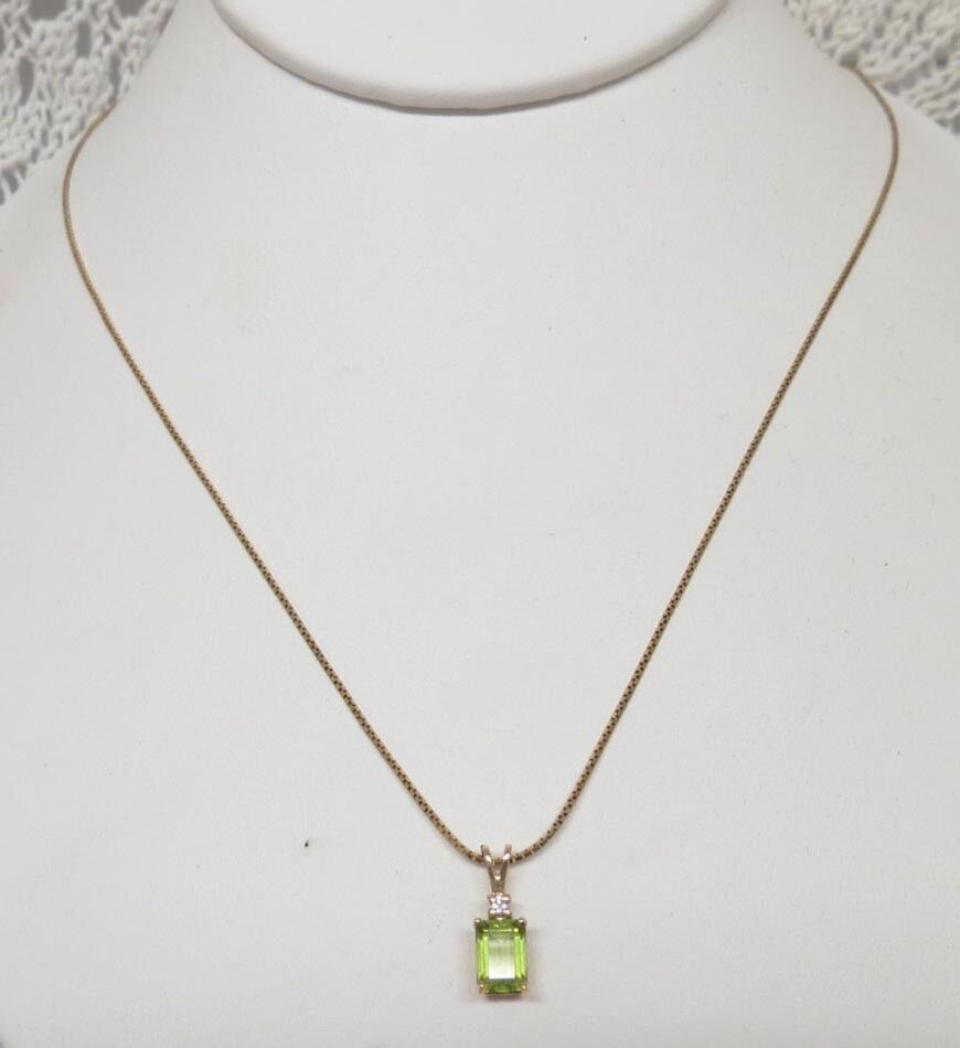 14 karat gold tourmaline with white sapphire necklace ebay