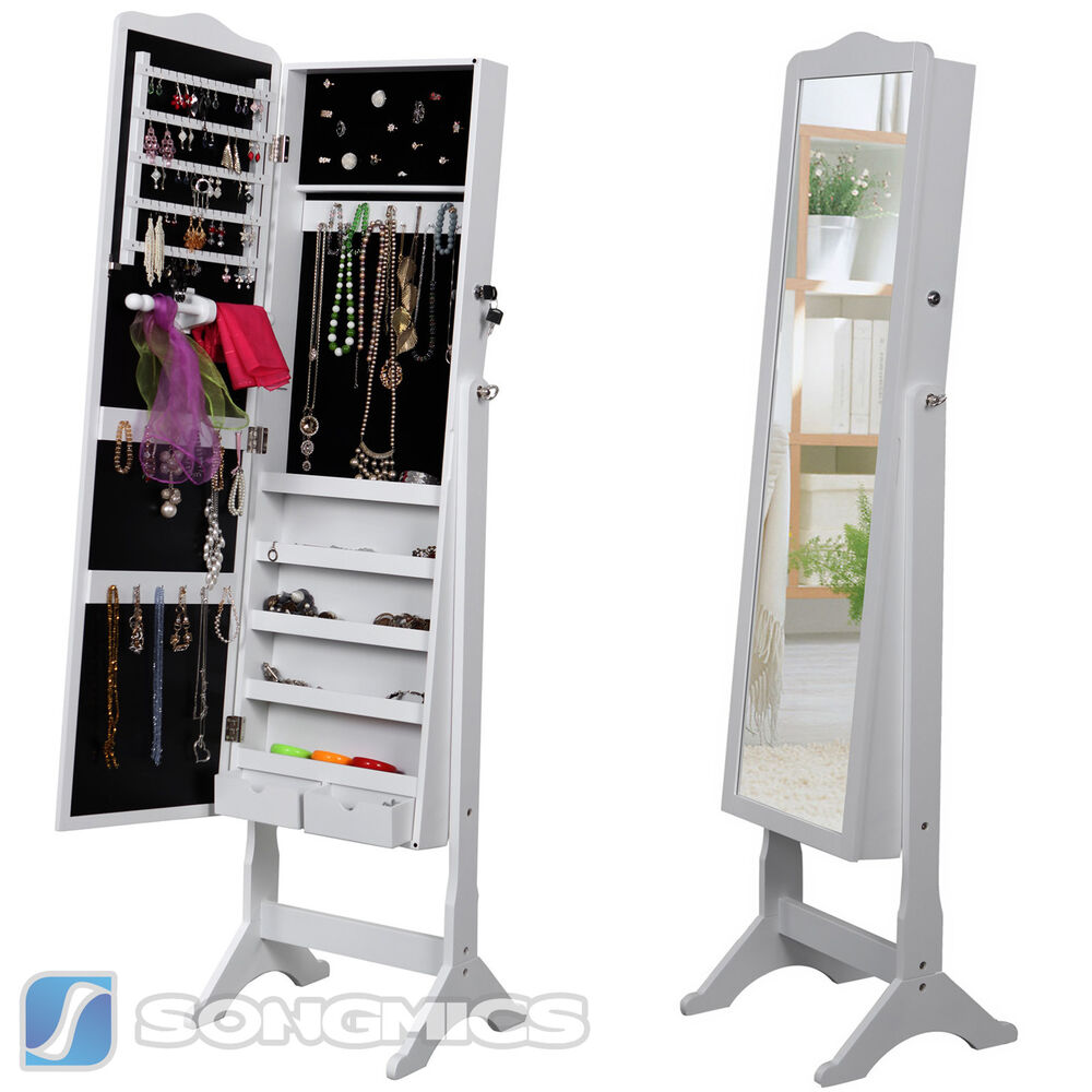 floor standing jewelry jewellry cabinet storage organiser armoire mirror jbc82w ebay. Black Bedroom Furniture Sets. Home Design Ideas
