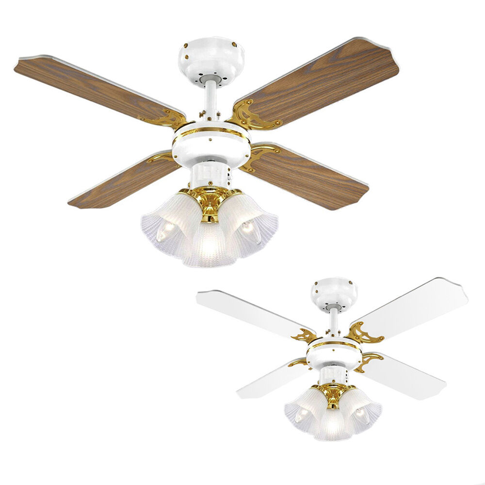 Oak Ceiling Fans With Lights : Traditional white brass oak effect speed ceiling fan