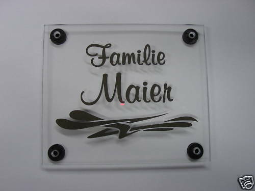 hausschild briefkasten namensschild t rschild aus plexiglas mit namen muster ebay. Black Bedroom Furniture Sets. Home Design Ideas