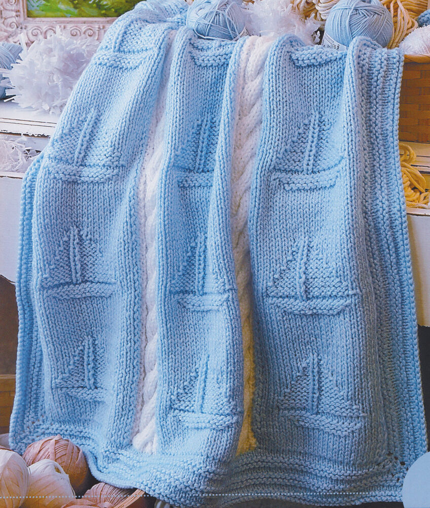 Anchor Knitting Pattern Blanket : Chunky Wool Boat/Nautical Baby Blanket ~ Cable Panel~ 36 ...