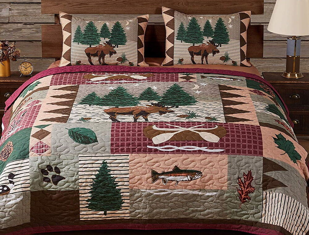 Moose lodge full queen or king quilt set bear fish log for Nicholas sparks black mountain furniture collection