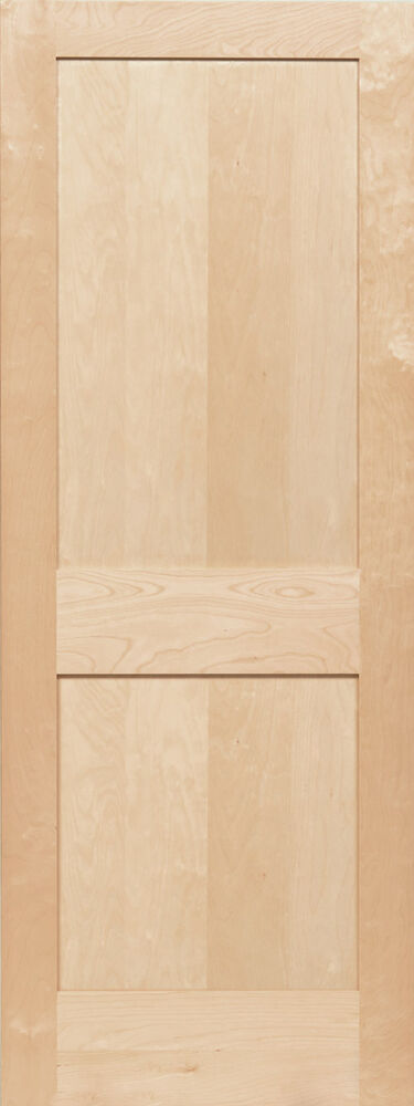 2 panel birch flat mission shaker stain grade solid core for Flat solid wood door