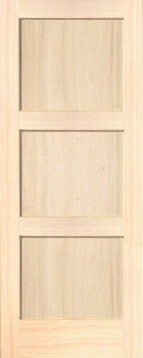 3 panel poplar equal flat mission stain grade solid core interior wood doors ebay for Solid wood panel interior doors