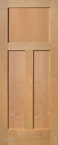 3 panel flat shaker clear alder stain grade solid core for Flat solid wood door