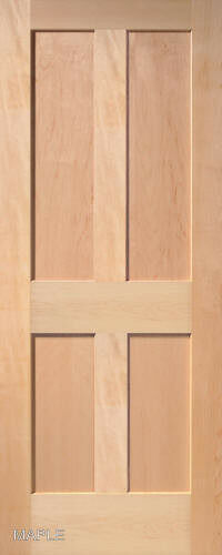 4 panel flat mission shaker stain grade maple solid core for Flat solid wood door