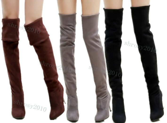 Womens Ladies Thigh High Heel Slouch Boots Stretch Over Knee Shoes ...