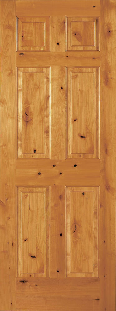 6 panel raised knotty alder traditional stainable solid for Knotty alder wood doors