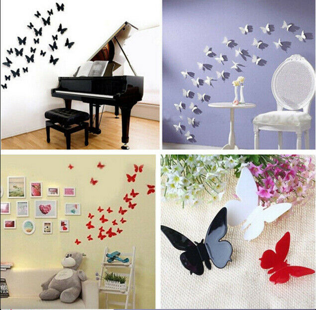 Hot 12 pcs 3d diy wall sticker stickers butterfly home for Home decor 3d stickers