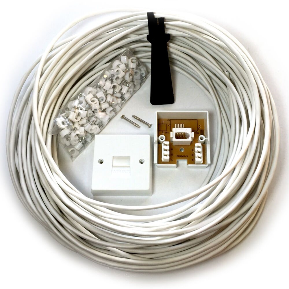 Telephone Extension Leads : M bt phone broadband wall socket extension cable kit